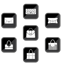 Set of black icons with bags vector