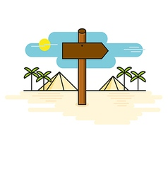 Wooden sign shaped like an arrow on desert path vector
