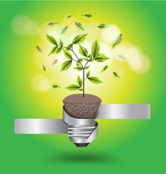 Creative light bulb tree growth concept vector image