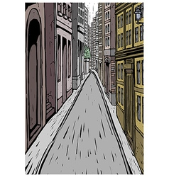 City street alley scene vector