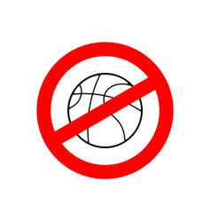stop basketball prohibited team game red vector image