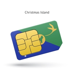 Christmas island mobile phone sim card with flag vector