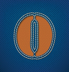 Number 0 made from leather on jeans background vector