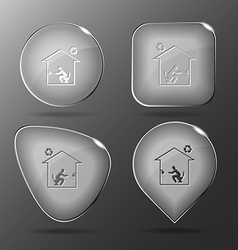 Home toilet glass buttons vector