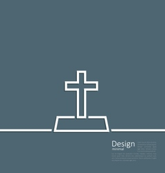 Logo of gravestone in minimal flat style line vector
