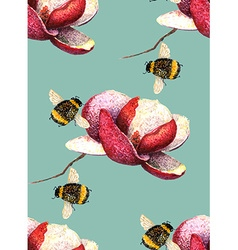 Magnolia and bee blue green pattern vector