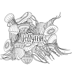 Decorative image of jellyfish in cartoon style vector