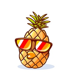 Colorful yellow hipster pineapple with su vector