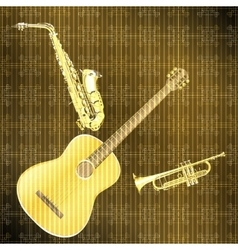 Musical background guitar saxophone and trumpet vector