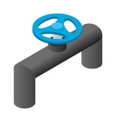 Pipeline valve stopcock isometric 3d icon vector