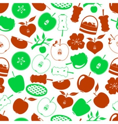 apple theme simple icons seamless pattern eps10 vector image