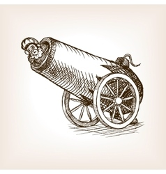 Circus human cannon sketch vector