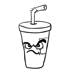 Black and white angry freehand drawn cartoon soda vector
