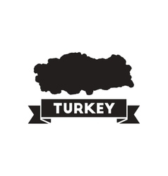 Flat icon in black and white turkey map vector