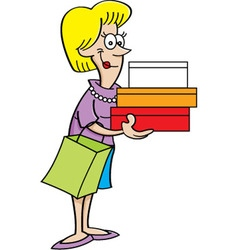 Cartoon women holding packages vector