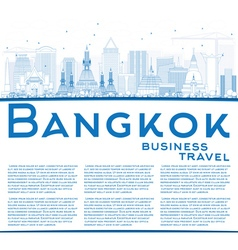 Outline bangkok skyline with blue landmarks vector