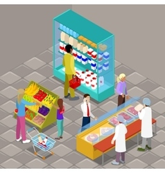 Isometric supermarket interior with products vector