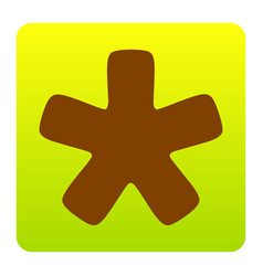 Asterisk star sign brown icon at green vector