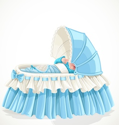 Baby in blue cradle isolated on white background vector image vector image