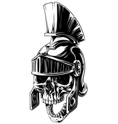 black and white human skull in roman helmet vector image vector image