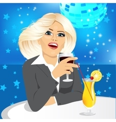 business woman drinking wine vector image