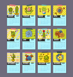 calendar for 2017 of cacti succulents vector image