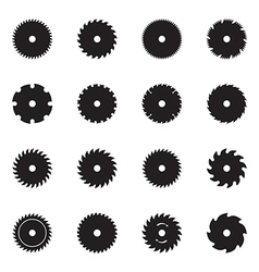 Circular saw blade icons vector