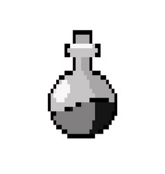 Contour erlenmeyer flak with chemical potion vector