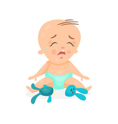 Cute cartoon baby sitting on the floor and crying vector