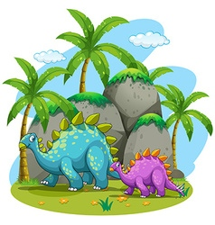 Dinosaurs walking in nature vector