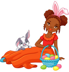 easter girl vector image vector image