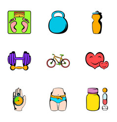 Exercise icons set cartoon style vector