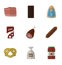 Flat icon meal set of smoked sausage meat vector