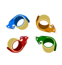 Four colors of adhesive tape dispenser vector