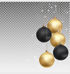 gold and black christmas ball with ball on vector image