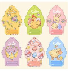 Greeting easter tags set vector