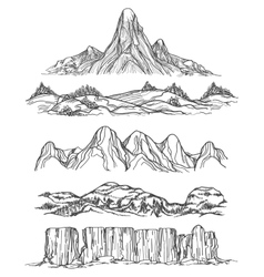 Hand drawn mountains and hills vector image vector image