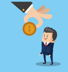 hand giving a coin to businessman cartoon vector image