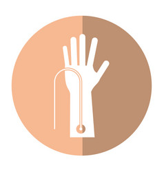 Hand with intravenous dropper shadow vector