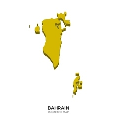 Isometric map of Bahrain detailed vector image