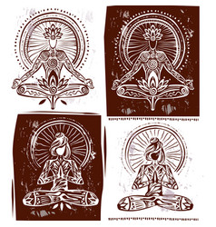 man and woman in meditation lotus yoga pose vector image vector image