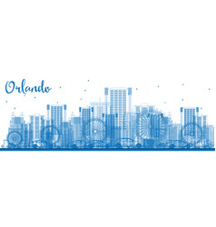 outline orlando skyline with blue buildings vector image