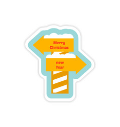 Paper sticker on white background christmas new vector