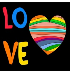 Rainbow heart with the inscription love vector image