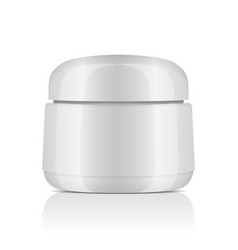 round white plastic jar with lid for cosmetics vector image vector image