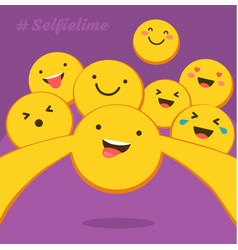 selfie time the yellow smiles with different vector image