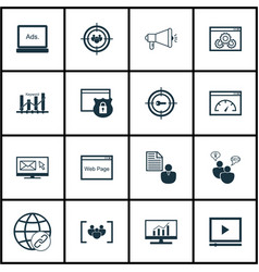 Set of 16 advertising icons includes keyword vector