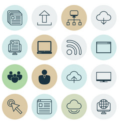 set of 16 internet icons includes blog page vector image