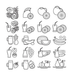 Set of black and white fruit juice ic vector