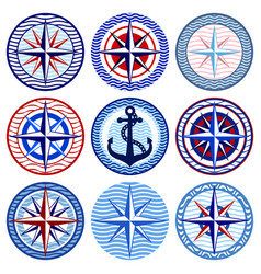 set of decorative elements on a marine theme vector image vector image